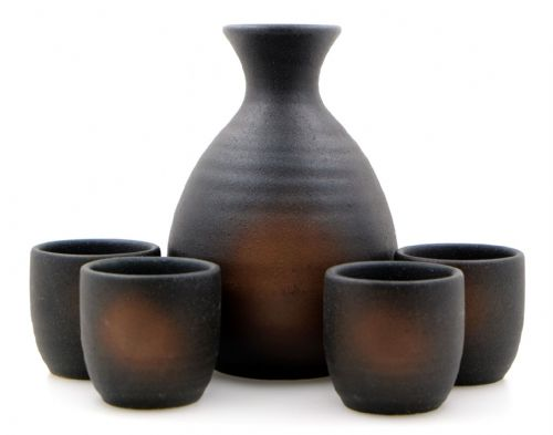 Iga Oribe Sake Set 4 cups - Japanese